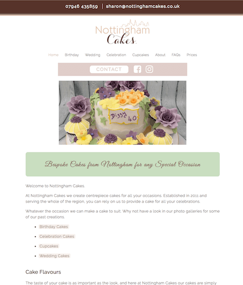 Cake Website for Nottingham Cakes