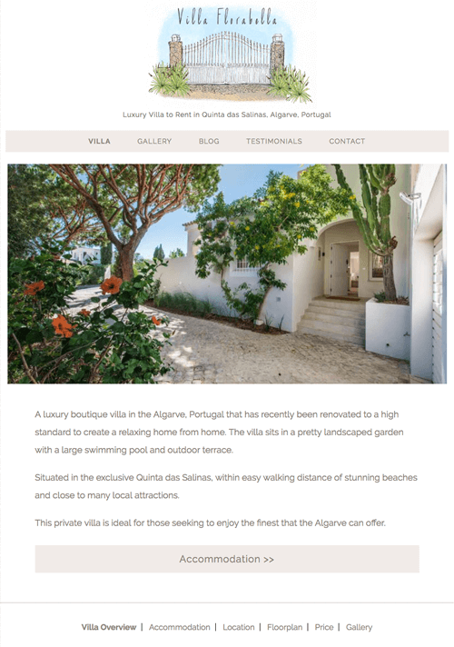 Web design for an Algarve Villa Rental Property